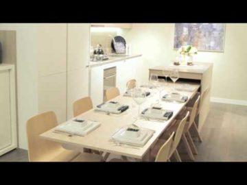 Penisola piccola con tavolo e sedie incorporate